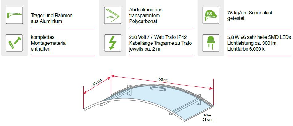 Eigenschaften des Bogenvordaches mit LED