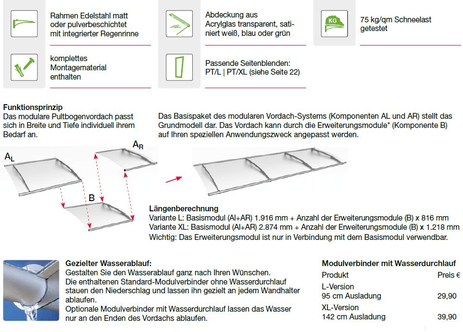 Eigenschaften des Modularen Pultvordachessystems PT/L und PT/XL
