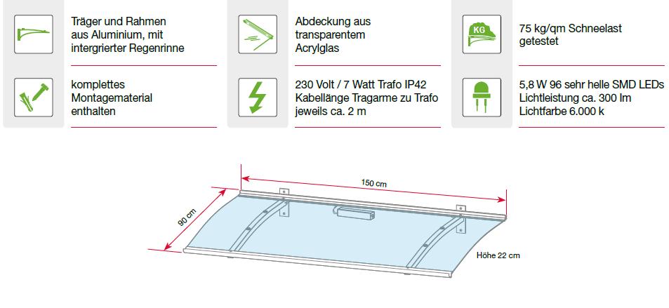 Eigenschaften des Pultvordaches mit LED
