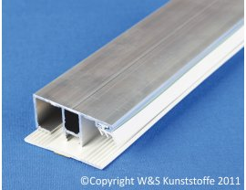 Alu Deckprofil Rand mit Unterleggummi für 16mm Stegplatten