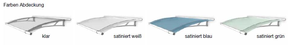Farbenvarianten des Pultvordaches PT/L und PT/XL